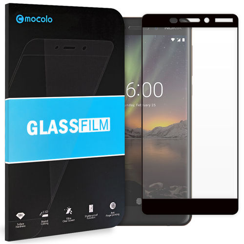 Black Full Coverage Tempered Glass Screen Protector - Nokia 6.1 (2018)
